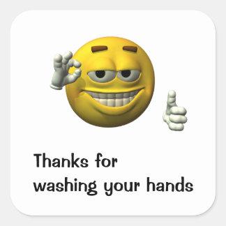 Dank für das Waschen Ihrer Hände Quadratischer Aufkleber