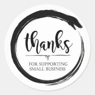 Dank für die Unterstützung des Kleinbetriebs Runder Aufkleber
