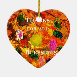 Dank für Segen Keramik Herz-Ornament