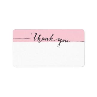 Dank-Kalligraphie-Rosa-Farbe Schreiben-in der Adressaufkleber