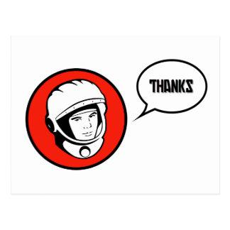 Dank-Kamerad Red Soviet Cosmonaut Postcard Postkarte
