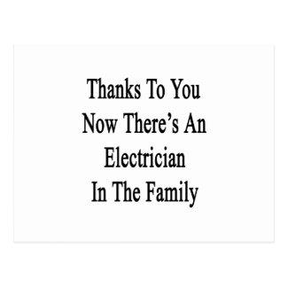 Dank Sie jetzt dort ist ein Elektriker Postkarte