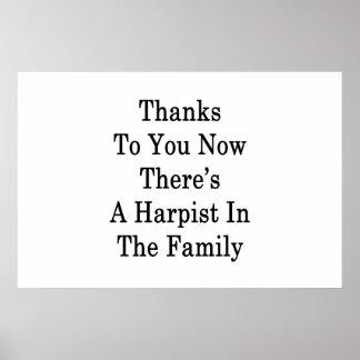 Dank Sie jetzt dort ist ein Harpist in der Familie Poster