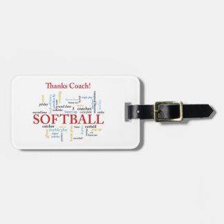 Dank-Softball-Trainer-Wörter von der Gruppe, Team, Gepäckanhänger