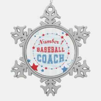 Dank-Trainer All-Sterne Baseball, Rot, blaue Schneeflocken Zinn-Ornament