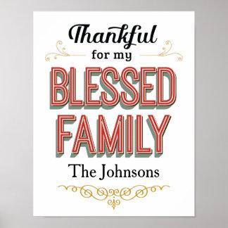 Dankbar für meinen gesegneten Familien-Kunst-Druck Poster