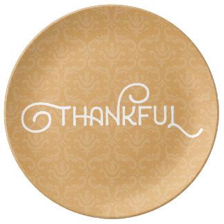 Dankbar • Niedliche Herbstdamastplatte Porzellanteller