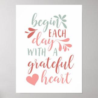 Dankbare beschriftetes Typografie-Zitat des Herz-| Poster