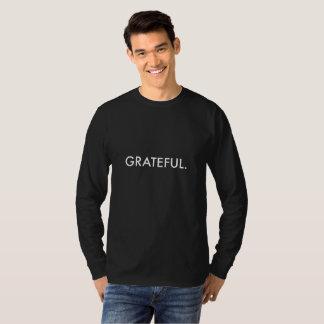 Dankbare Lang-Hülse (weiße Beschriftung), Männer T-Shirt