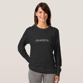 Dankbare Lang-Hülse (weiße Beschriftung) T-Shirt