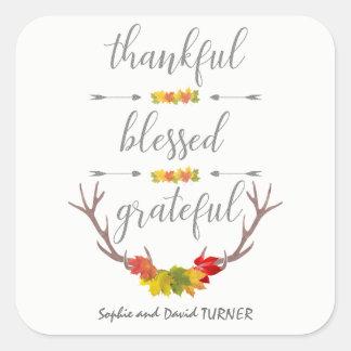 Dankbarer gesegneter dankbarer quadratischer aufkleber