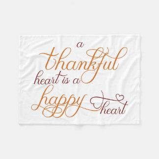 dankbares Herz ist ein glücklicher Herz-Erntedank Fleecedecke
