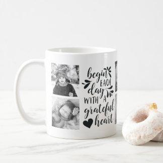 Dankbares Herz-Schwarzweiss-Foto-Tasse Kaffeetasse