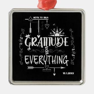 Dankbarkeit ist alles Anmerkung zur Selbsttafel Silbernes Ornament
