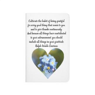Dankbarkeits-Zitat mit Vergissmeinnicht-Blumen Taschennotizbuch