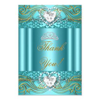 Danke aquamarines blaues Gold Quinceanera 8,9 X 12,7 Cm Einladungskarte