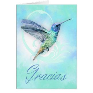 Danke auf spanisch - Aquarell-Kolibri-Karte Grußkarte