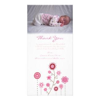 Danke, Baby-Mädchen-Foto-Karten-Schablone zu merke Fotokarte
