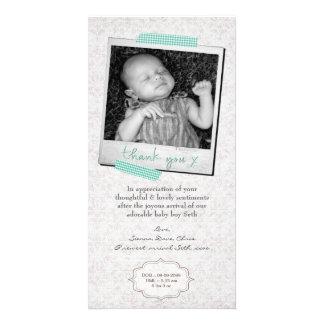 Danke, Baby-Mitteilungs-Schablone zu merken Fotokartenvorlagen