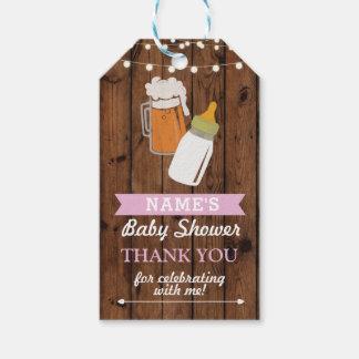 Danke, Babyparty-Brauenmädchen-Bier-Rosa zu Geschenkanhänger