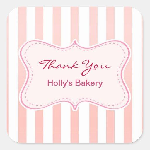 danke Bäckereiaufkleber Quadratsticker