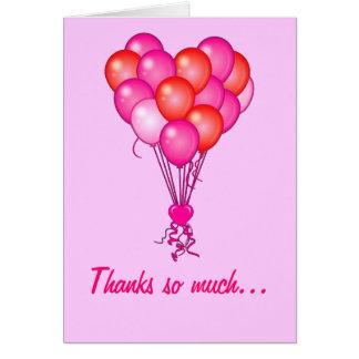 Danke: Ballone in Form eines Herzens Karte