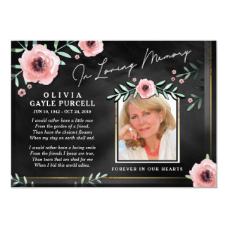 Danke Beileids-schwarze u. rosa BlumenFoto-Karte 12,7 X 17,8 Cm Einladungskarte