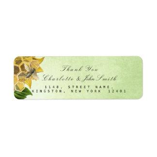 Danke Bienen-Sonnenblume-Minzen-Rücksendeadresse