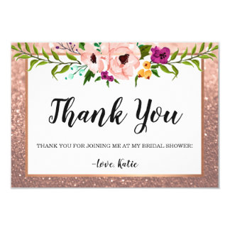 Thank You - Flower Crown Glitter Pink Rose Gold