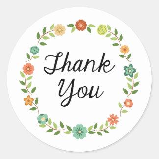 Danke BlumenKranz-Aufkleber Runder Aufkleber