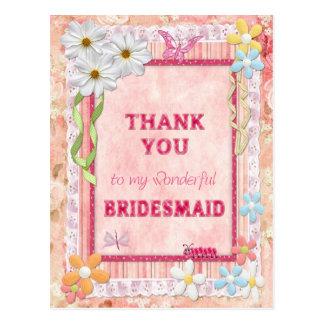 Danke Brautjungfer, Blumenhandwerkskarte Postkarte