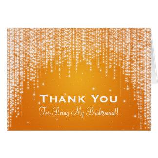 Danke Brautjungfer, die Nacht Orange blenden Grußkarte