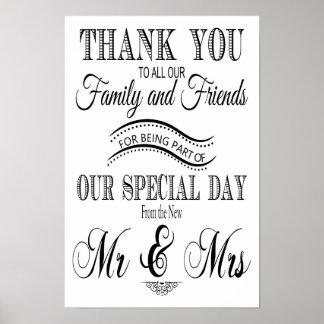 Danke das Schwarzweiss Hochzeitszeichen Poster