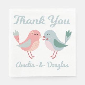 Danke die Lovebirds, die rosa sind u. die blaue Serviette