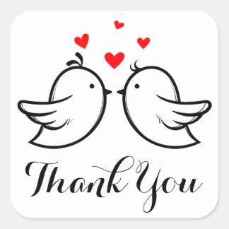 Danke die Schwarzweiss-Lovebirds, die Party Quadratischer Aufkleber