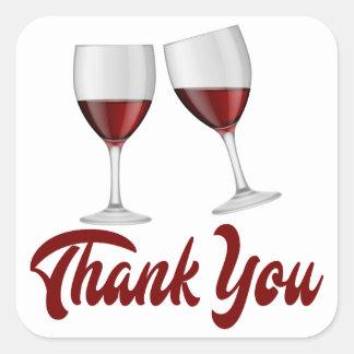 Danke die Wedding Rotwein-Gläser Burgunders Quadratischer Aufkleber