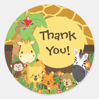 Danke Dschungel-Safari-Baby-Tier-Aufkleber Runder Aufkleber