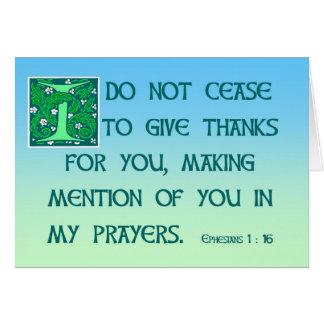 Danke, Ephesians 1:16 zu kardieren Grußkarte