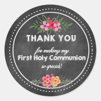 Danke erste heilige Kommunions-Tafel Runder Aufkleber
