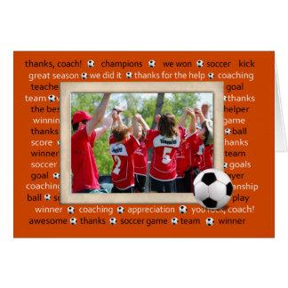 Danke Fotokarte für Fußball-Trainer Grußkarte