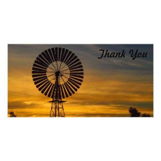 Danke Fotokarte - Windmühlensonnenuntergang Karte