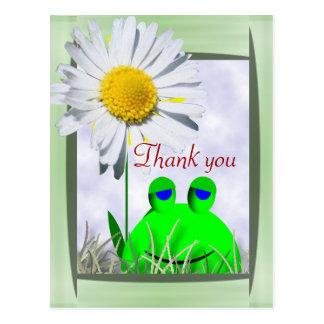 Danke Frosch und Gänseblümchen Postkarte