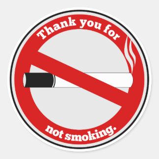 Danke für das Rauchen nicht Runder Aufkleber