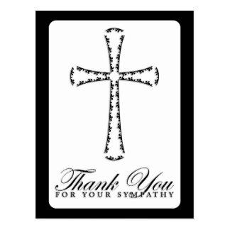 danke für Ihr Beileid (elegantes Kreuz) Postkarte