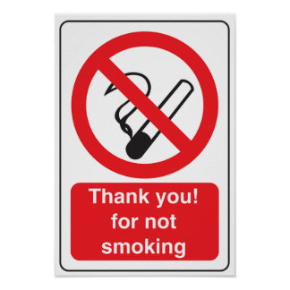 Danke für nicht rauchendes Zeichen-Plakat Poster