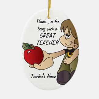 Danke für Sein eine Lehrer-Verzierung - Junge Keramik Ornament