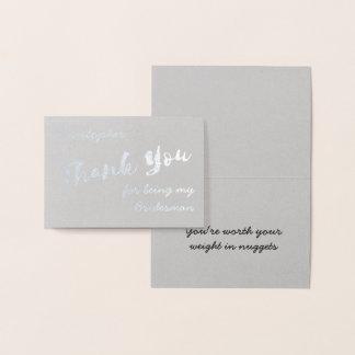 Danke für Sein meine Bridesman-Folien-Karte Folienkarte