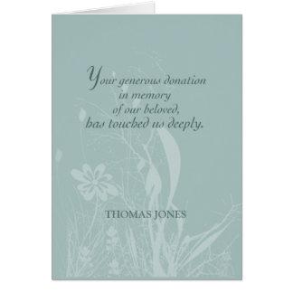 Danke für Spende im Gedächtnis, Bio Blume Karte
