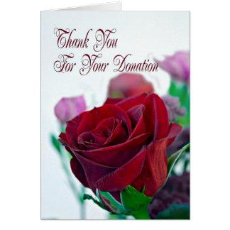 Danke für Spendenkarte mit einer Roten Rose Karte
