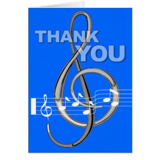 Danke, Gclef-Musik-Anmerkungs-Blau zu kardieren Mitteilungskarte
